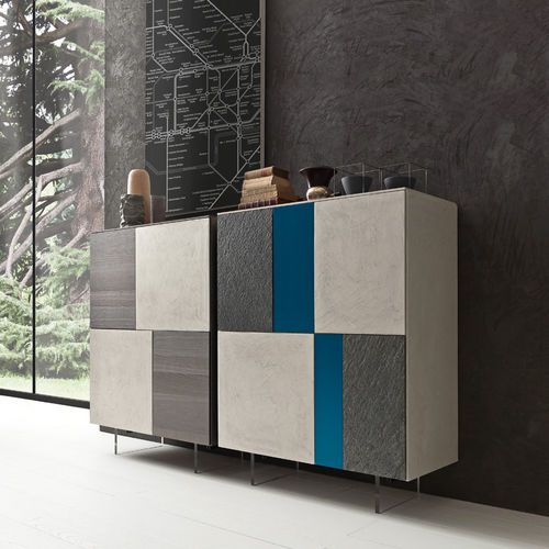 high sideboard / contemporary / lacquered wood / oak