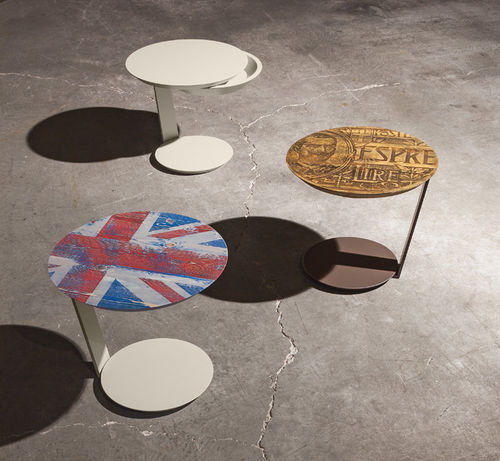 contemporary pedestal table / lacquered metal / round