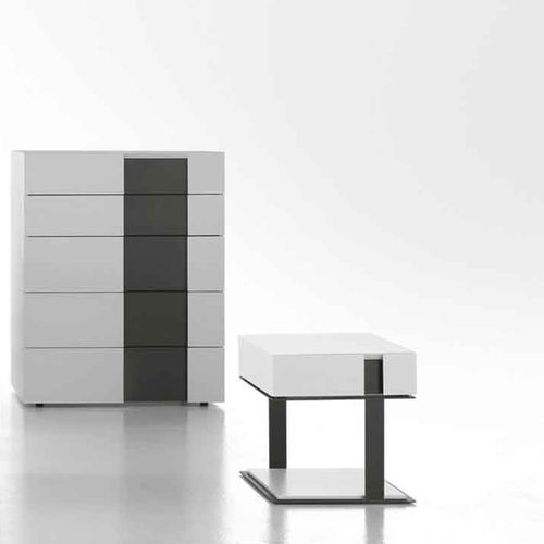 contemporary chiffonier / oak / lacquered wood / white