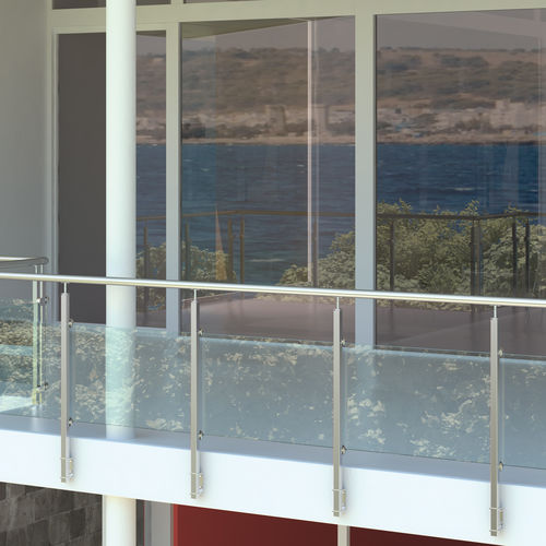 steel railing / glass / with panels / outdoor