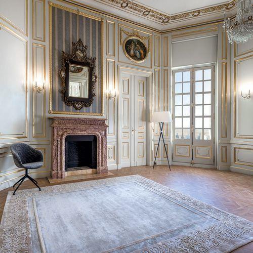 contemporary rug / patterned / vegetal silk / rectangular