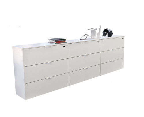 low filing cabinet / metal / with drawers / contemporary