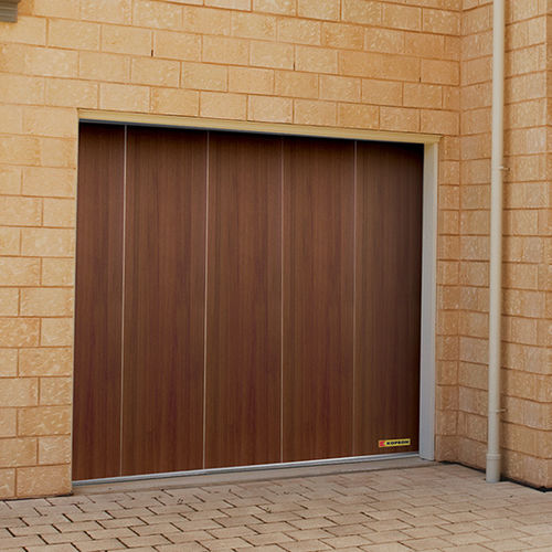 sliding sectional garage door / wooden / automatic