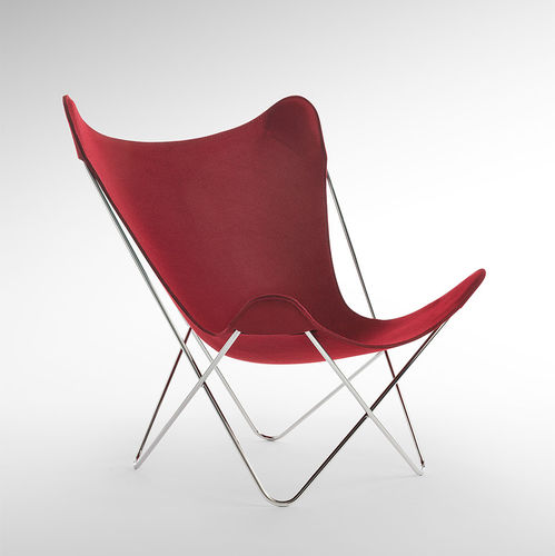 contemporary garden chair / steel / fabric / red