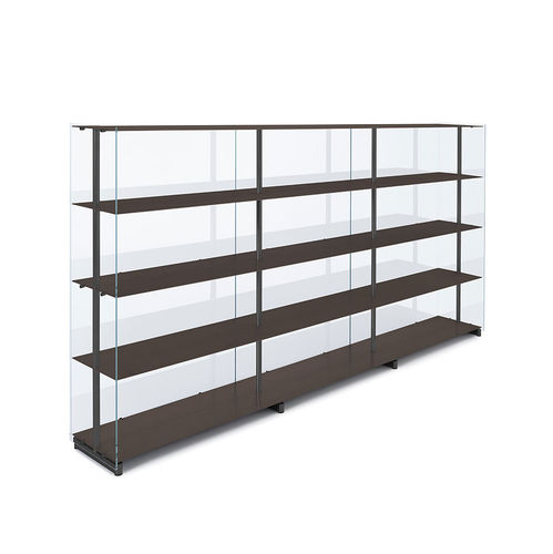 high bookcase / contemporary / commercial / aluminum