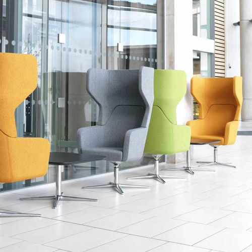 contemporary visitor armchair / fabric / with armrests / swivel