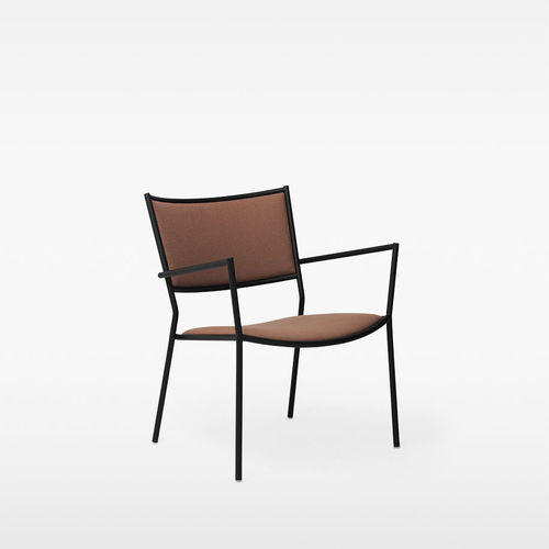 contemporary armchair / fabric / painted steel / sheet metal
