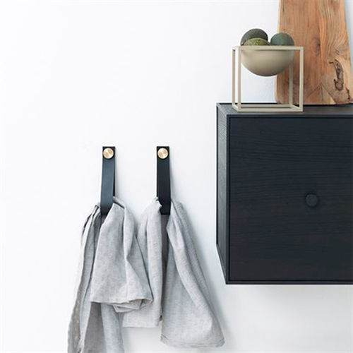contemporary coat hook / brass / leather / multi-person