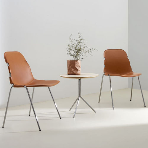 contemporary visitor chair / upholstered / stackable / leather