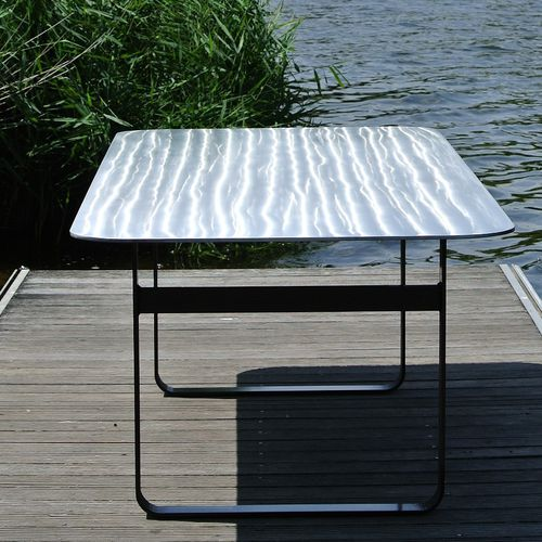 contemporary table / steel / aluminum / lacquered metal