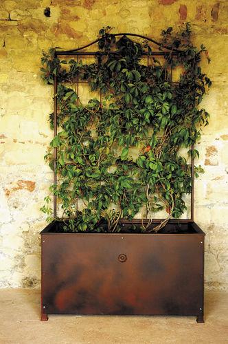 wrought iron garden pot / square / rectangular / with trellis