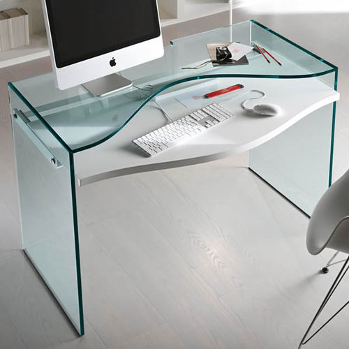 lacquered wood desk / glass / contemporary