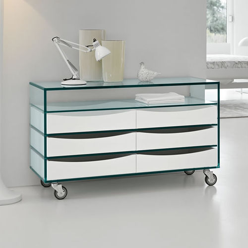 contemporary chest of drawers / glass / on casters / white
