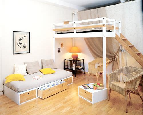 loft bed / single / contemporary / wooden