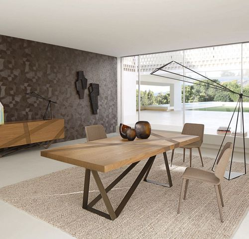 contemporary dining table / oak / MDF / steel