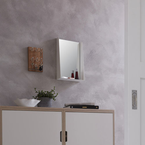 wall-mounted mirror / with shelf / contemporary / rectangular