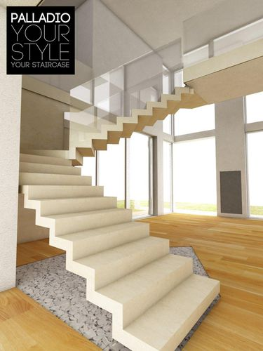 Half-turn staircase / concrete steps / stone steps / without risers ART SURFACE PALLADIO SCALE