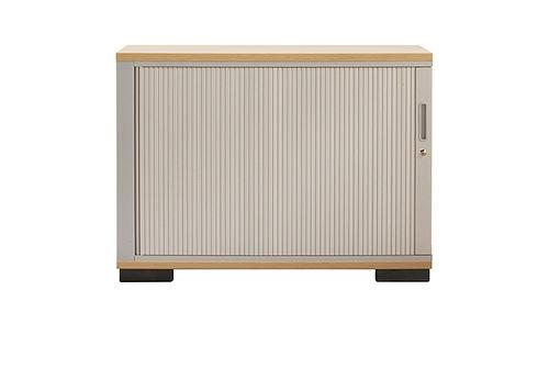 low filing cabinet / aluminum / wooden / tambour door