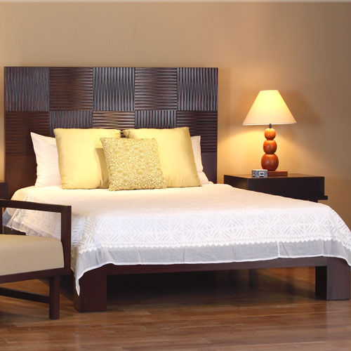 Double bed / contemporary / with headboard / wooden CUBULAR : C.B49 WARISAN