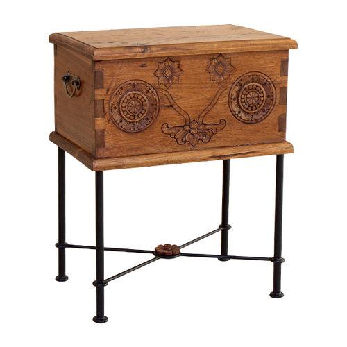 Contemporary side table / wooden / iron / rectangular TRUNK : R.STT WARISAN