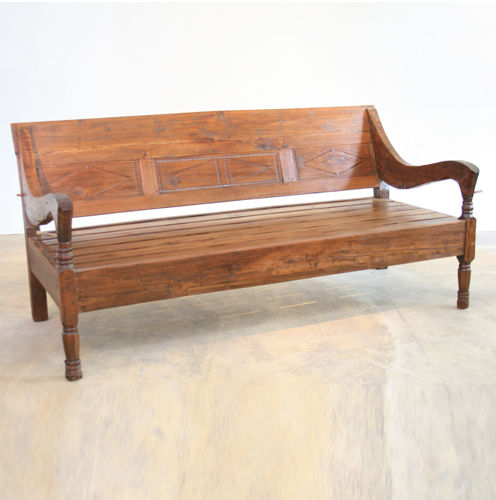 Traditional bench / wooden / with backrest / with armrests JAVA : I/7097 WARISAN