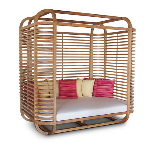 contemporary sun lounger / wooden / pool / canopy