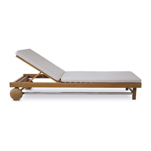 Contemporary sun lounger / wooden / pool / on casters CUBULAR : G.PL49 WARISAN