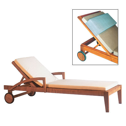 contemporary sun lounger / teak / pool / on casters