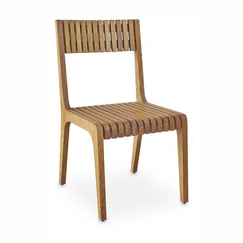 Contemporary garden chair / walnut RUSUK : G.C47 WARISAN