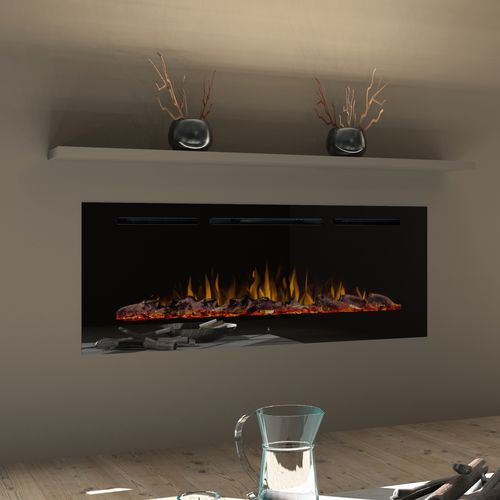 electric fireplace / contemporary / closed hearth / built-in