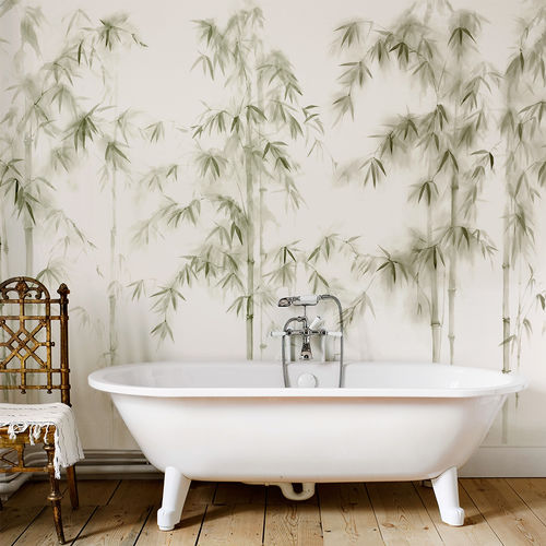 Traditional wallpaper / cotton / nature pattern / hand-painted BAMBOO FOREST BuenaVentura