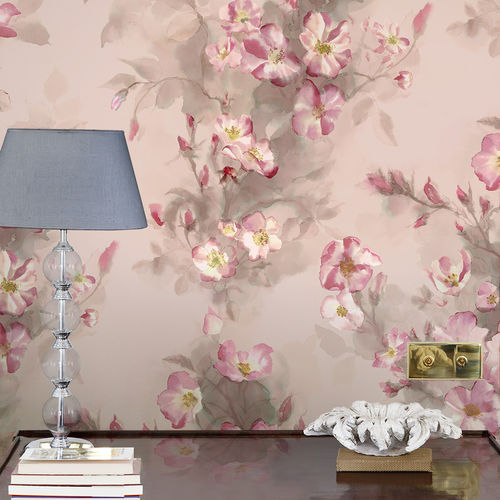 Traditional wallpaper / cotton / floral / hand-painted WILD ROSES BuenaVentura