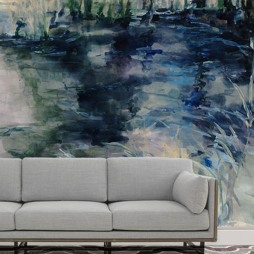 Personalized wallpaper / contemporary / cotton / nature pattern WATER REFLECTIONS BuenaVentura