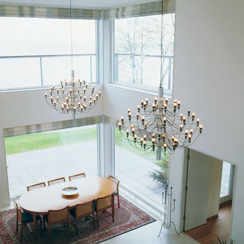 contemporary chandelier / brass / steel / incandescent