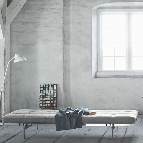 contemporary day-bed / fabric / leather / home