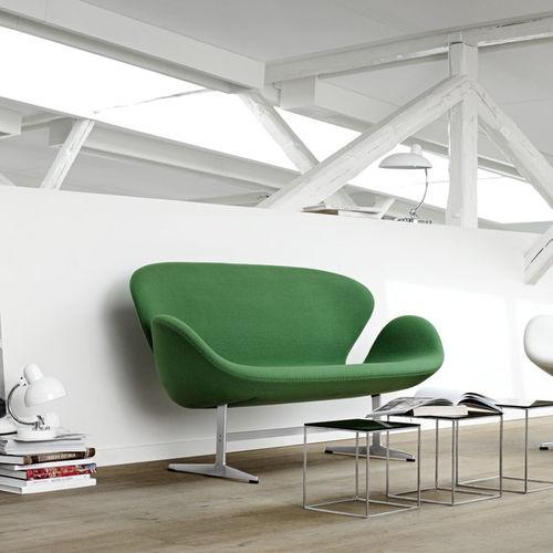 Scandinavian design upholstered bench / fabric / leather / steel