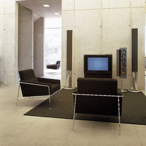 Scandinavian design armchair / fabric / leather / chrome steel