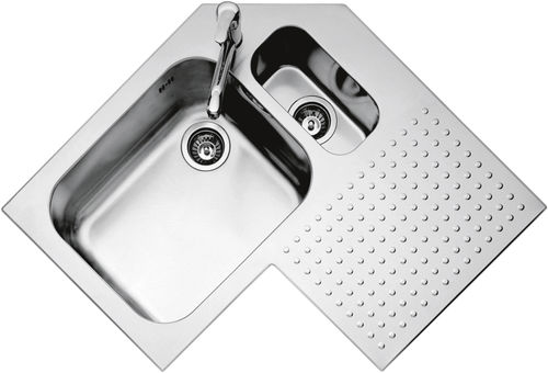 Double kitchen sink / stainless steel / corner / with drainboard 1IS9090D F.lli Barazza Srl