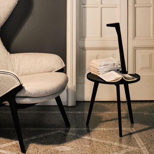 contemporary side table / ash / American walnut / stained wood