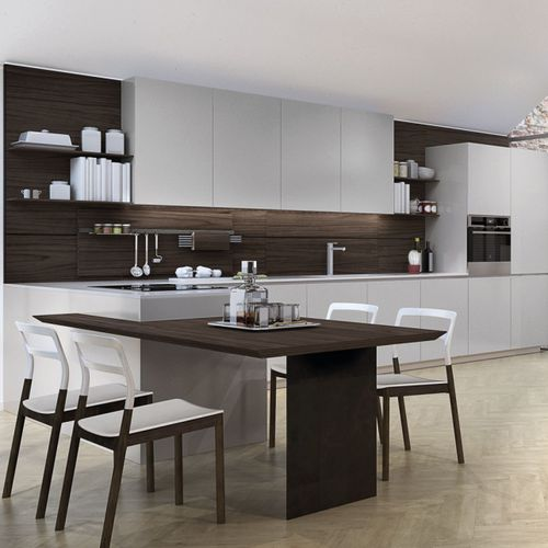contemporary kitchen / glass / stainless steel / aluminum