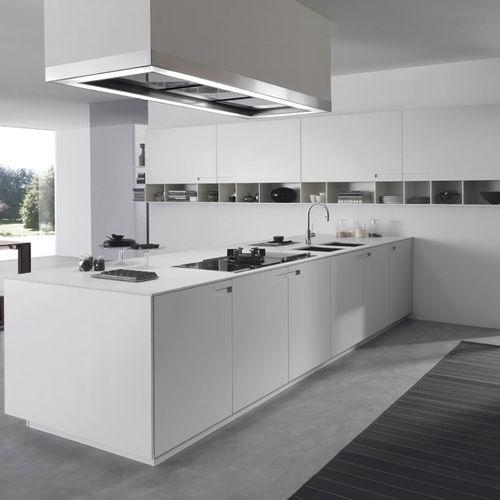 contemporary kitchen / stone / lacquered aluminum / acrylic