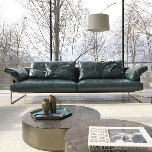 contemporary sofa / fabric / leather / 2-person