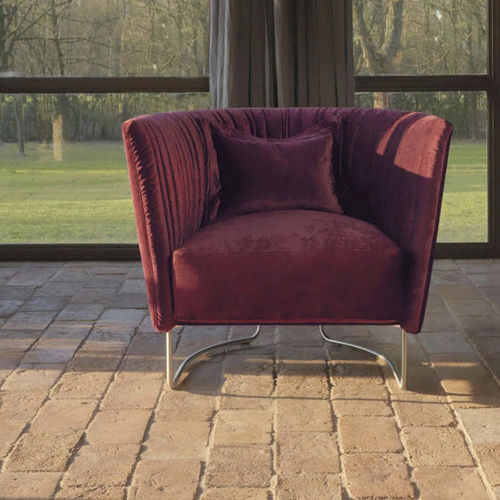contemporary armchair / fabric / metal / red