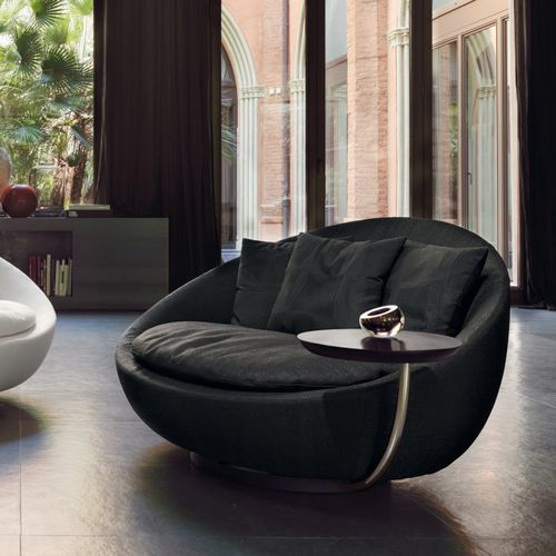 contemporary armchair / fabric / leather / lacquered metal