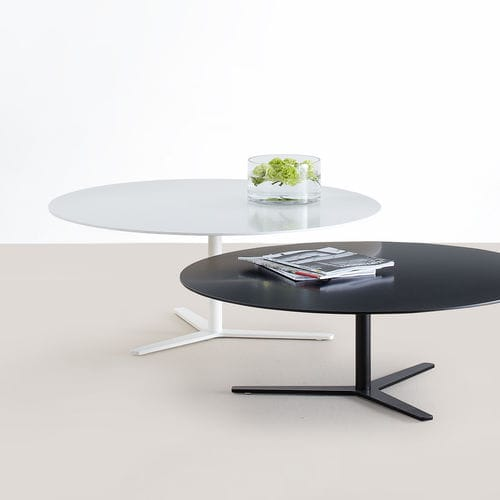 contemporary coffee table / MDF / powder-coated steel / chromed metal