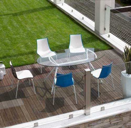 contemporary table / glass / lacquered steel / lacquered aluminum
