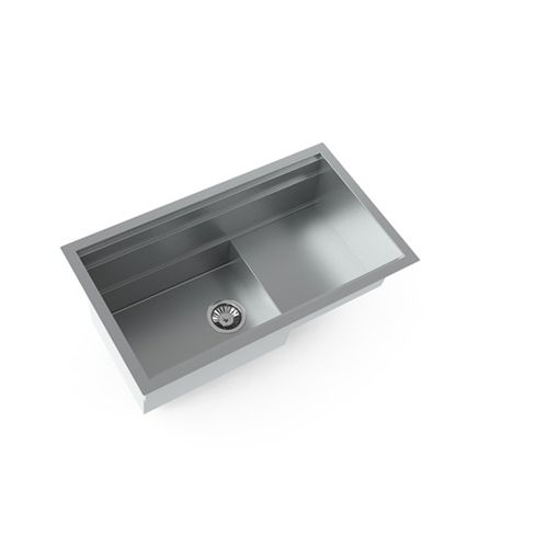 Single-bowl kitchen sink / stainless steel / with drainboard NEWORK L800 P STEEL TIME SRL
