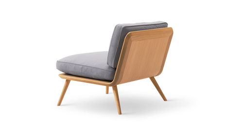Scandinavian design fireside chair / leather / oak / ash SPINE LOUNGE  Fredericia Furniture