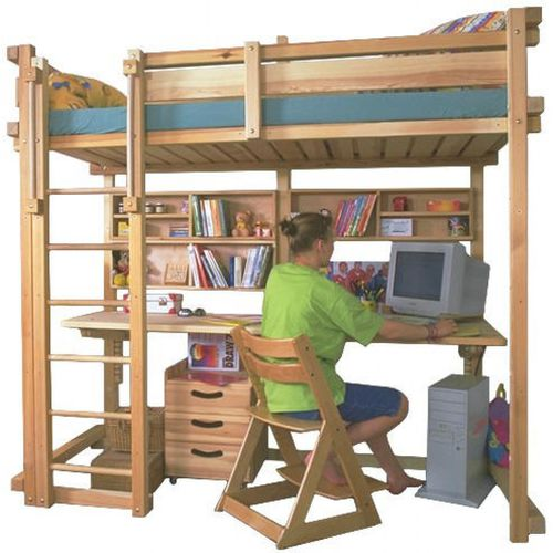 Single bed / loft / contemporary / with writing desk MISSISSIPPI WOODLAND - Meubles pour enfants