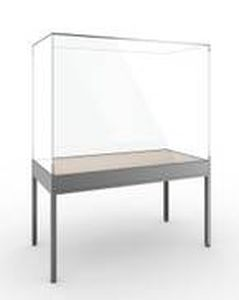 contemporary display case / with legs / glass / aluminum